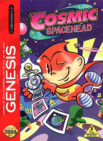 Cosmic Spacehead, Sega Genesis, Retro Videogame Review, Cosmic Spacehead on Sega Genesis, Cosmic Spacehead Retro Videogame Review, Codemasters, Point and Click, Adventure Game, Sega, Cute, Kawaii, Funny, LOL, Humor, Charm,