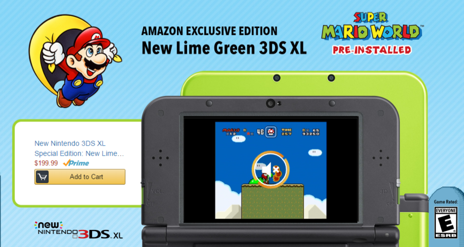 New Amazon Exclusive Lime Green Nintendo 3DS XL with Super Mario World Preinstalled for $199.00